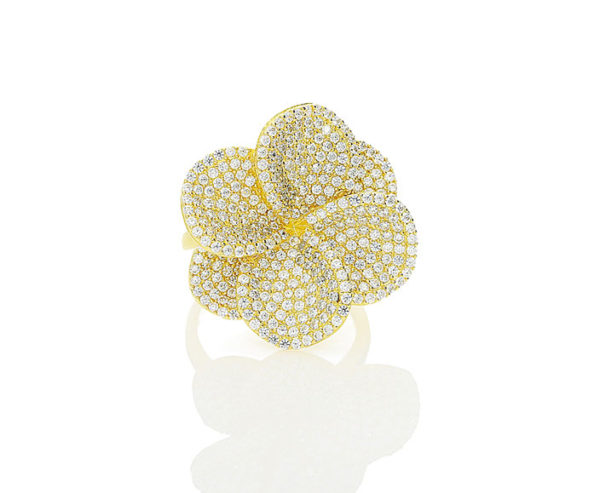 silver flower ring finished in yellow gold