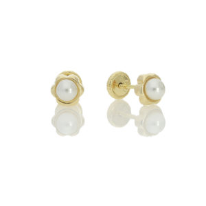 18ct yellow gold flower center pearl. £41 72 07113_