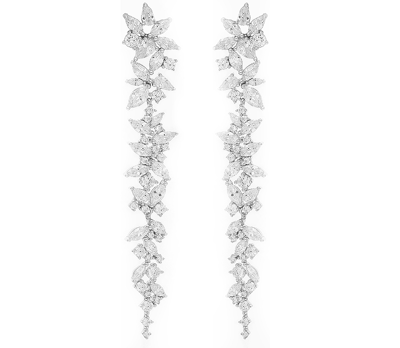 A Pair Of Long Drop Silver Earrings Finished With Cubic Zirconia