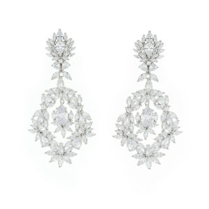 silver cz long floral earrings £204 22 04 110